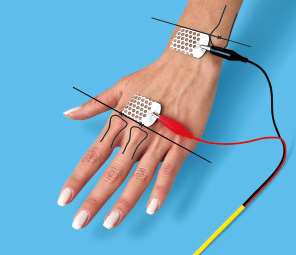 Photo elektrodes placed on a hand